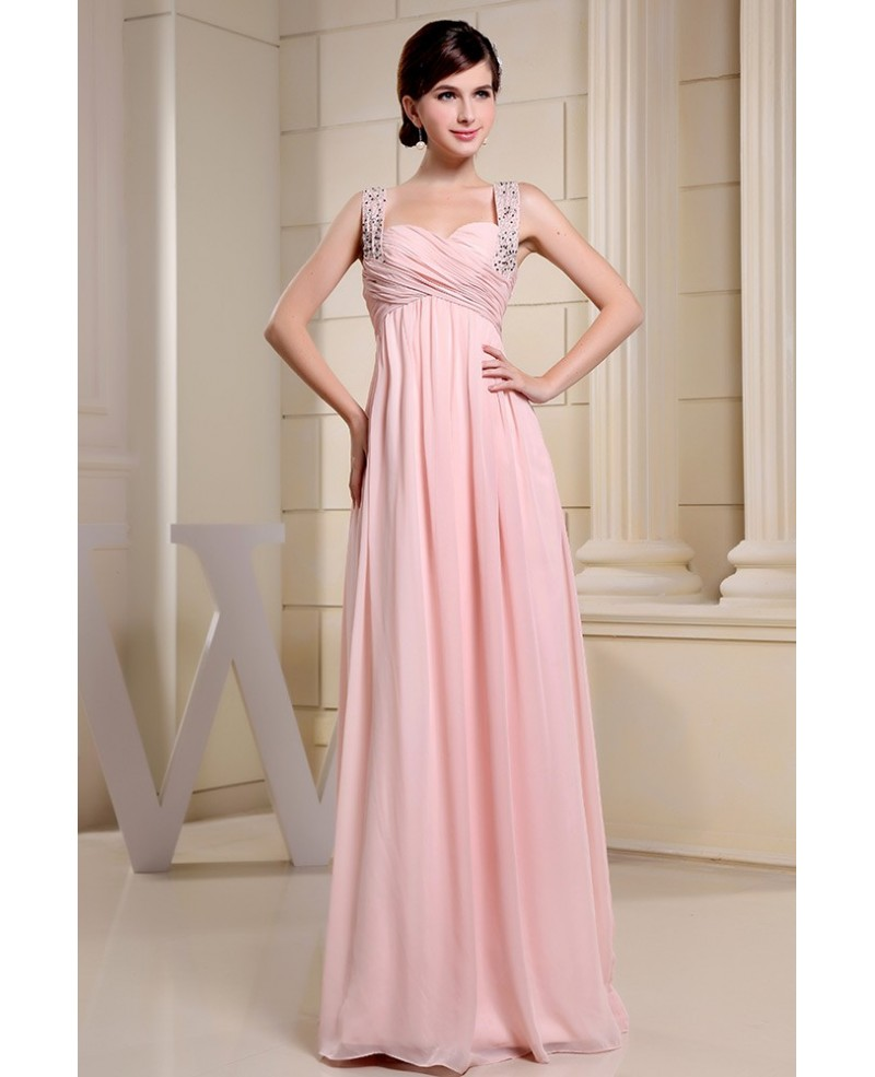 Empire Sweetheart Floor-length Chiffon Prom Dress With Beading