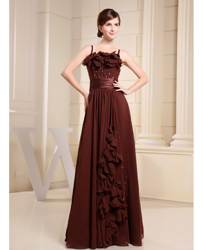 Empire Square Neckline Floor-length Chiffon Prom Dress With Ruffle