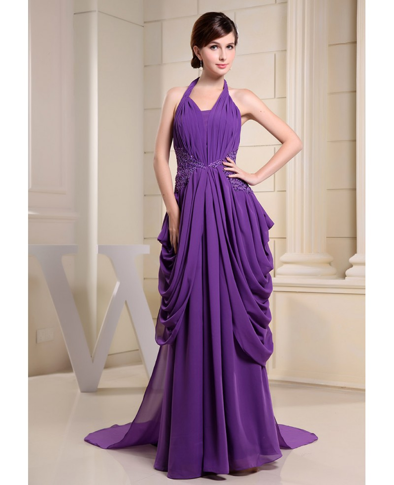 Ball-gown Halter Sweep Train Chiffon Evening Dress With Beading