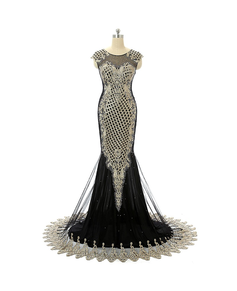 Black Mermaid Scoop Sweep-train Prom Dress with Beading