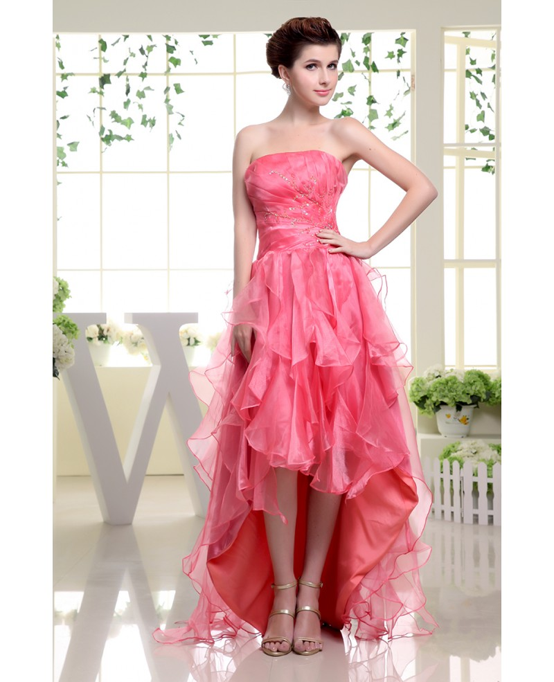 A-line Strapless Asymmetrical Tulle Prom Dress With Cascading Ruffle