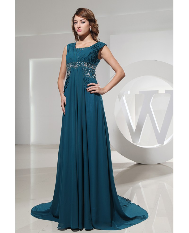 A-line Square Neckline Sweep Train Chiffon Evening Dress With Beading