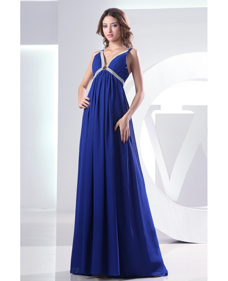 Empire V-neck Sweep Train Chiffon Evening Dress With Beading