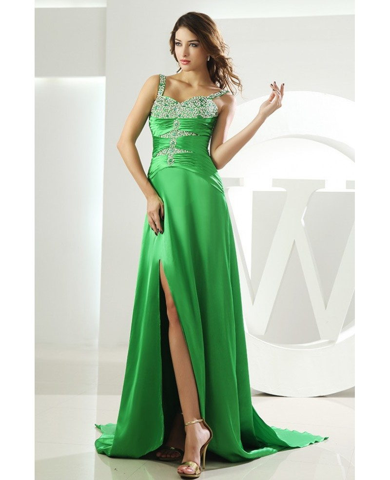 Sheath Sweetheart Sweep Train Satin Prom Dress With Beading