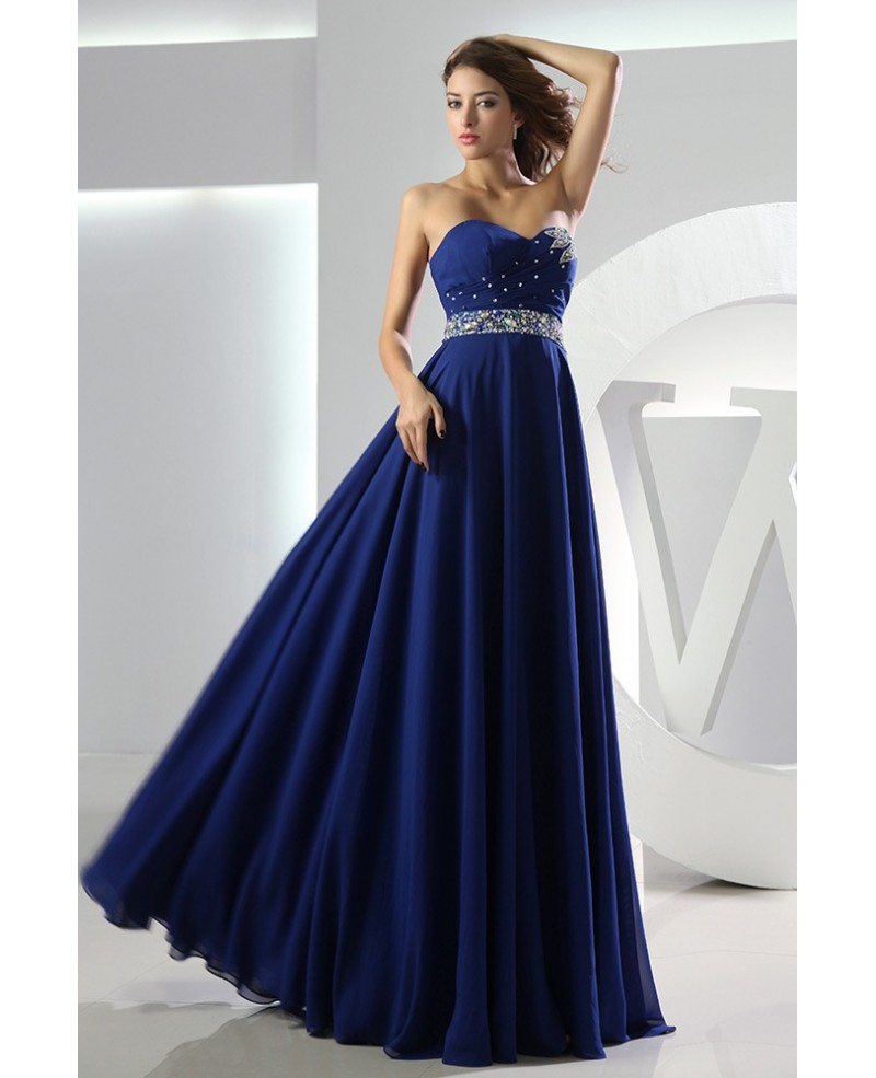 A-line Sweetheart Floor-length Chiffon Prom Dress With Beading