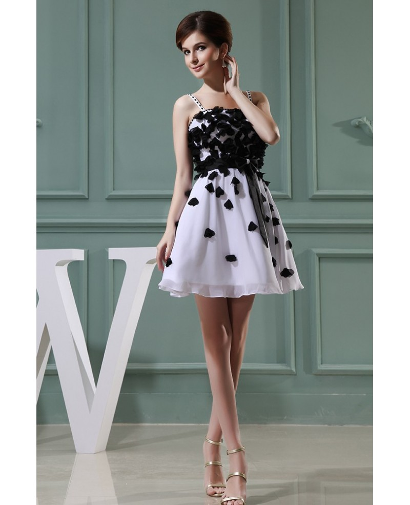 A-line Strapless Short Chiffon Homecoming Dress With Flowers