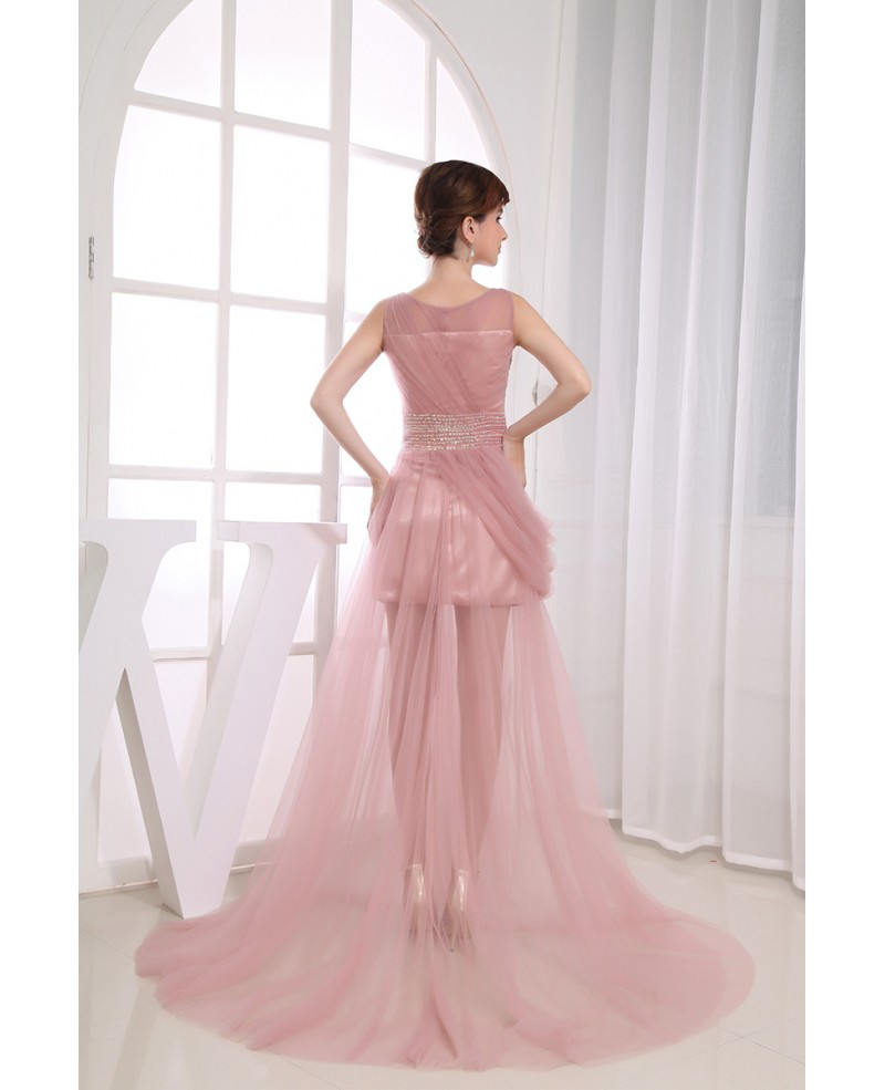 A-line Scoop Neck Floor-length Tulle Prom Dress With Beading