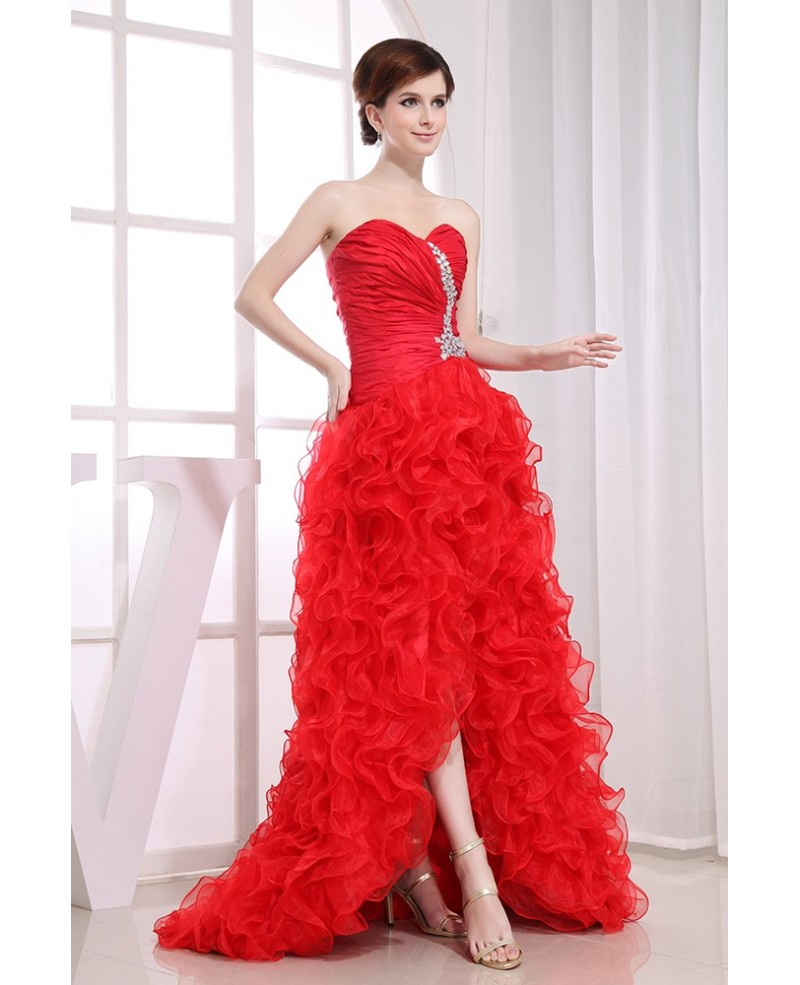 Ball-gown Sweetheart Asymmetrical Tulle Prom Dress With Cascading Ruffle