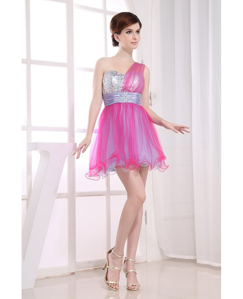 A-line One-shoulder Short Tulle Prom Dress With Sequins