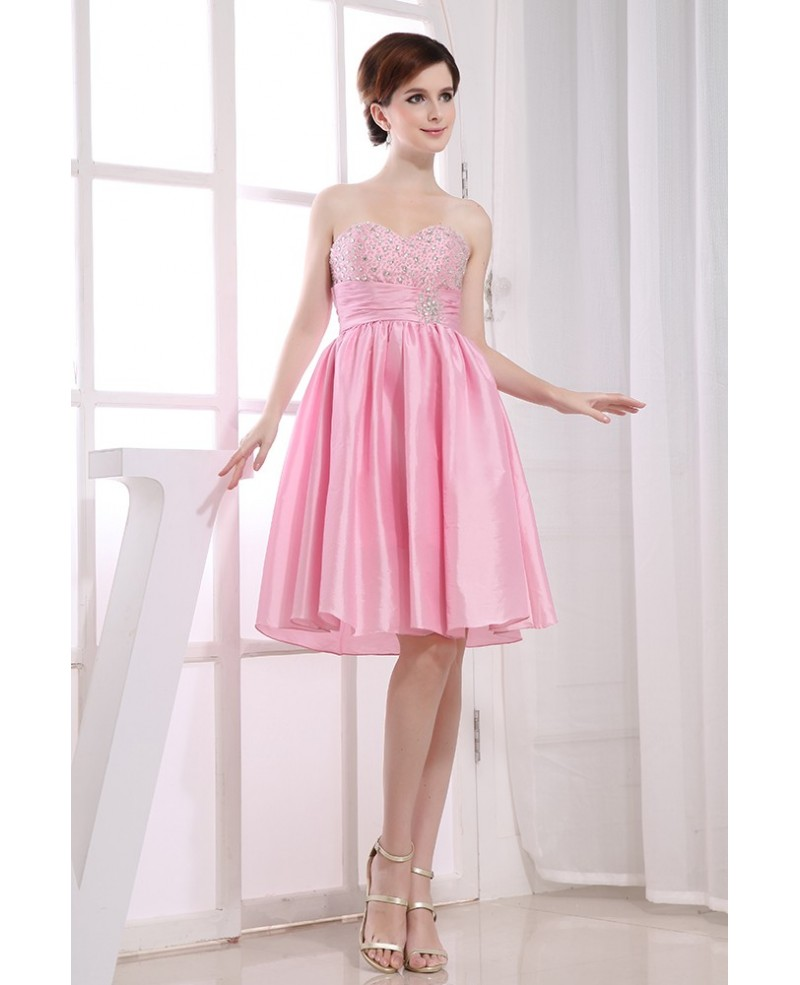 A-line Strapless Knee-length Satin Homecoming Dress With Beading