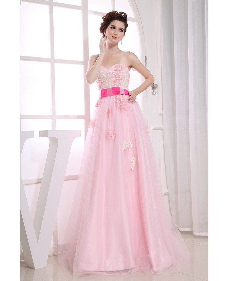 A-line Sweetheart Floor-length Tulle Prom Dress With Appliques Lace