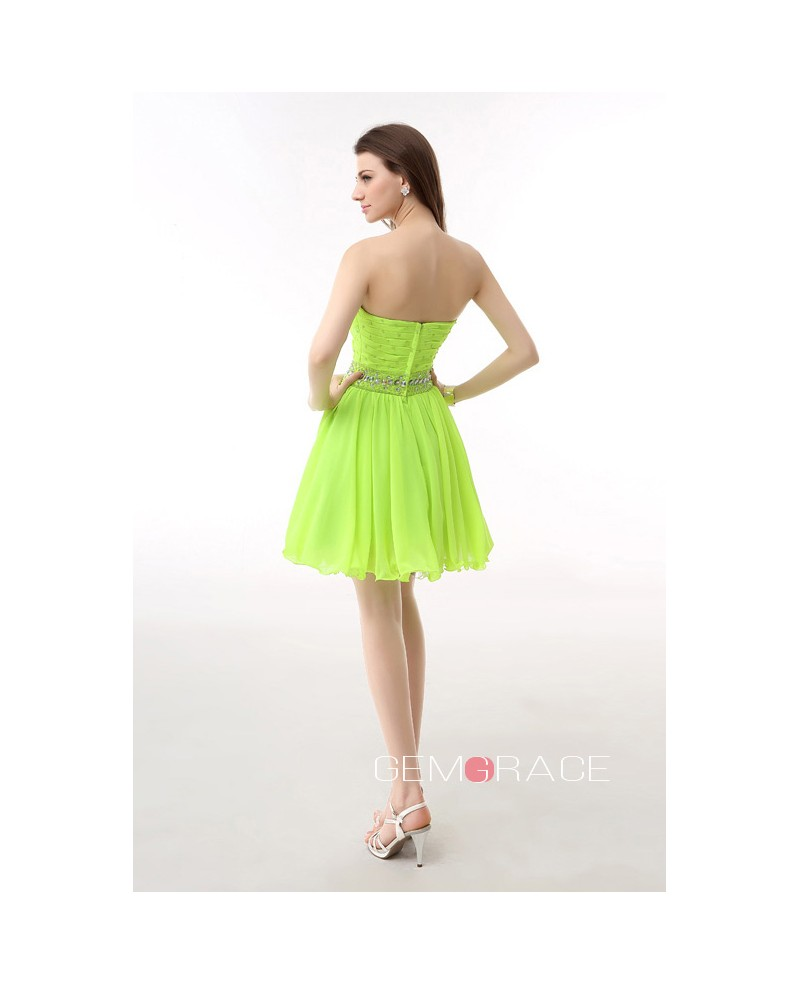 A-Line Sweetheart Short Chiffon Prom Dress With Beading