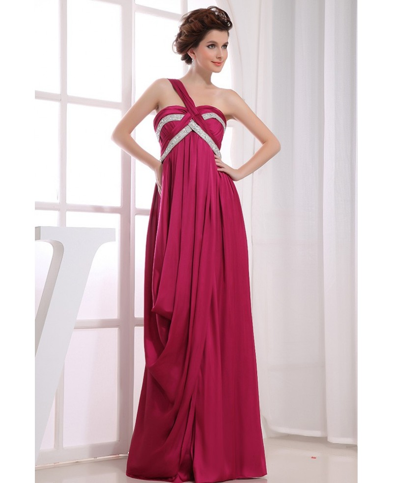A-line One-shoulder Floor-length Satin Evening Dress With Beading