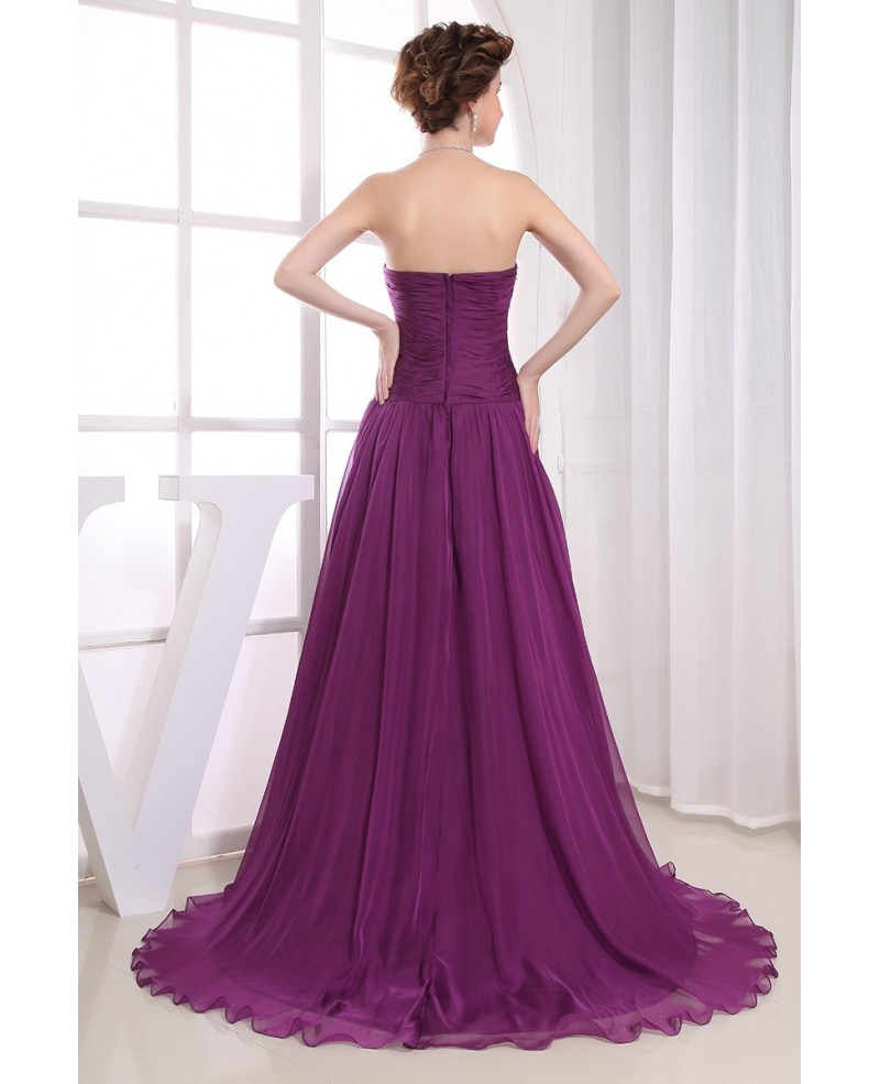 A-line Strapless Sweep Train Chiffon Evening Dress With Beading