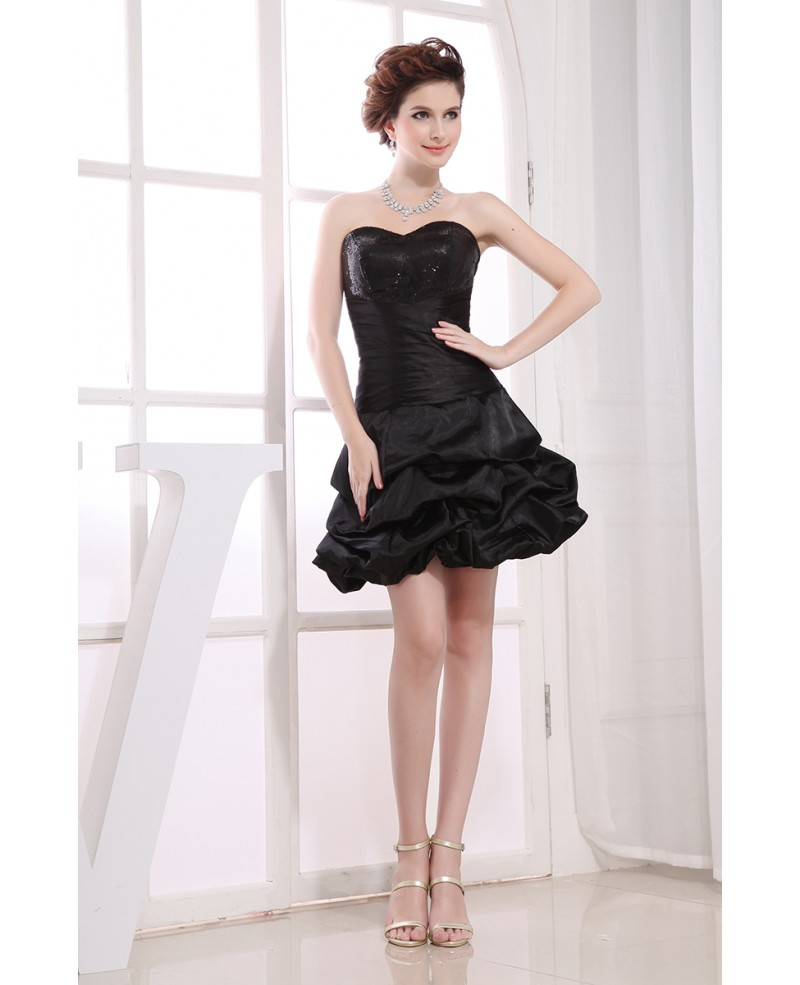 A-line Sweetheart Short Satin Homecoming Dress With Sequins