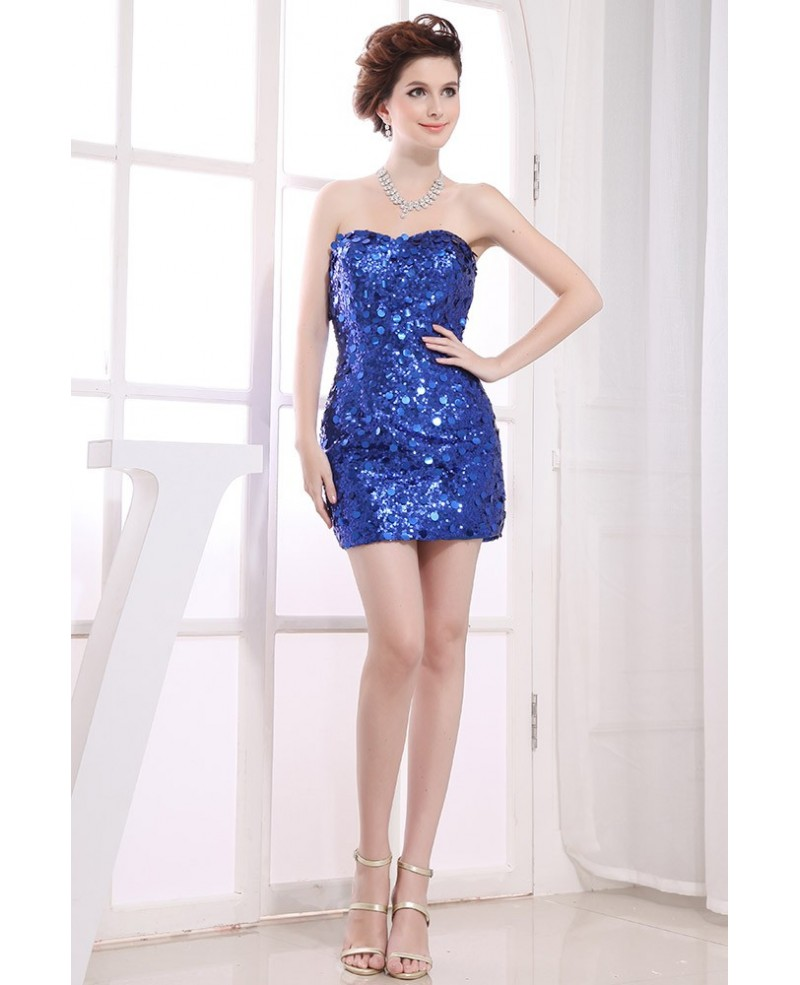Sheath Sweetheart Short Sequined Homecoming Dress