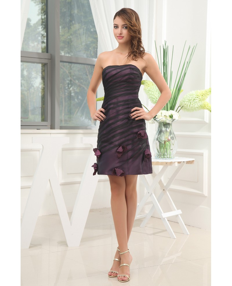 A-line Strapless Short Satin Homecoming Dress With Flowers