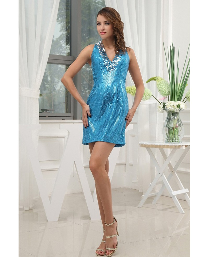 Sheath Halter Short Sequined Prom Dress
