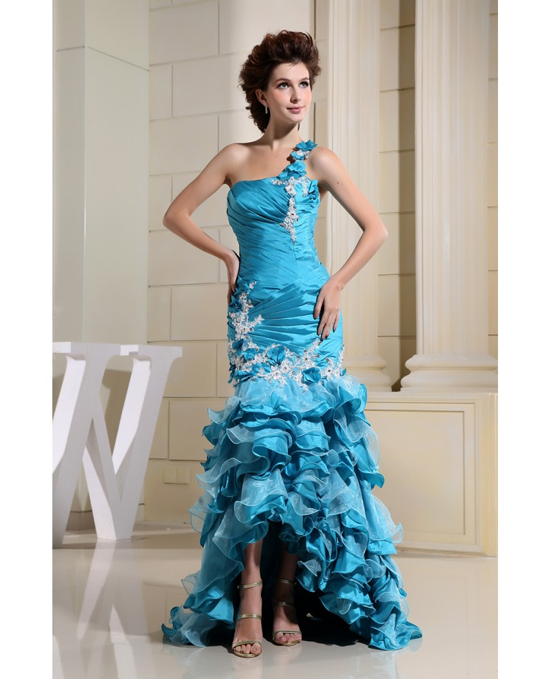 Mermaid One-shoulder Asymmetrical Satin Prom Dress With Cascading Ruffle