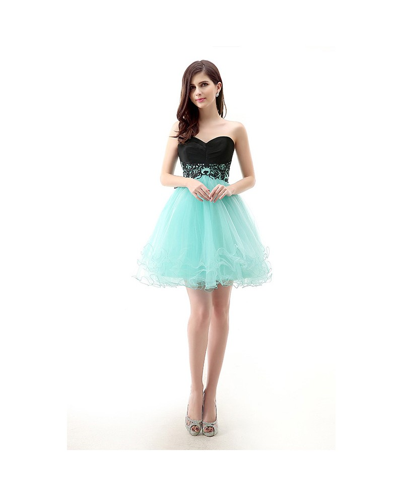 Short/Mini Sweetheart Puffy Two-Tone Tulle Prom Dress