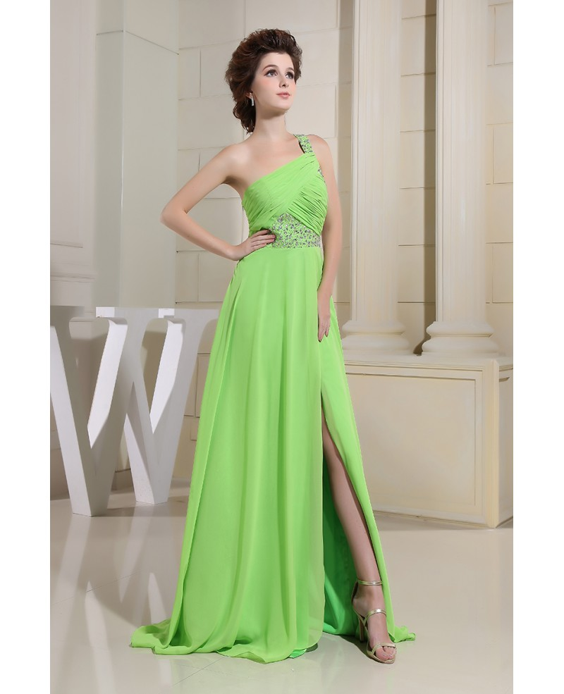 A-line One-shoulder Floor-length Chiffon Prom Dress With Split