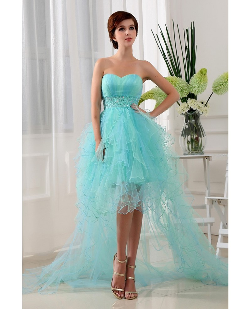 A-line Sweetheart Asymmetrical Tulle Prom Dress With Ruffle