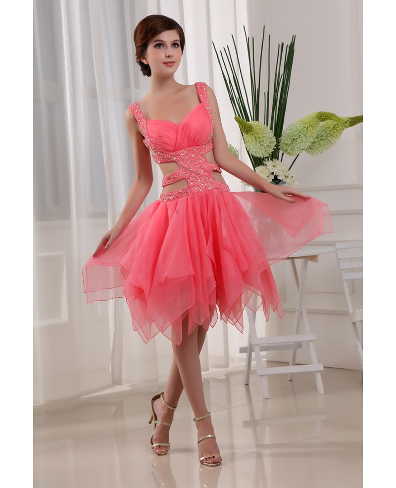 A-line Sweetheart Knee-length Chiffon Prom Dress With Beading