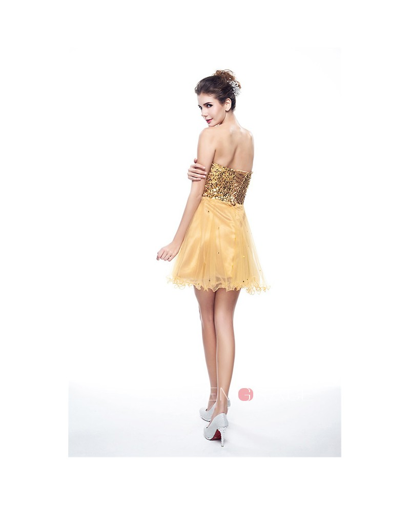 Mini/Short Strapless Beaded Top Tulle Sparkly Puffy Prom Dress