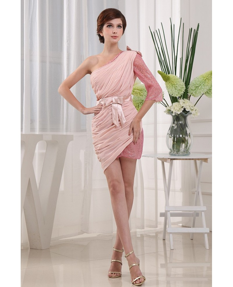 Sheath One-shoulder Short Chiffon Homecoming Dress