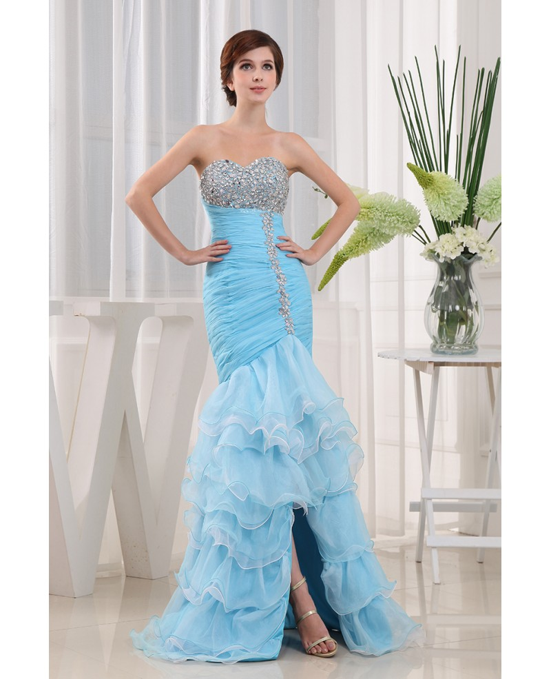 Mermaid Sweetheart Asymmetrical Tulle Prom Dress With Beading