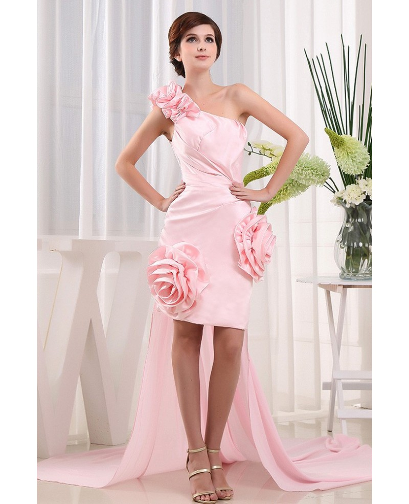 A-line One-shoulder Asymmetrical Satin Prom Dress With Flowers