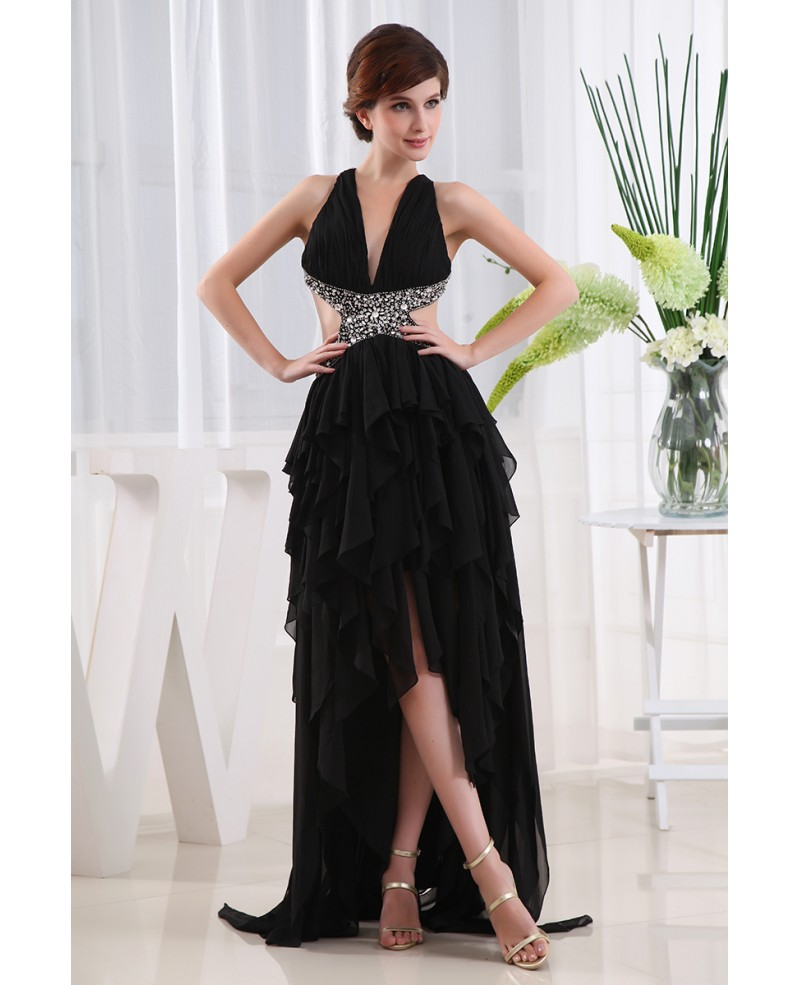 A-line V-neck Asymmetrical Chiffon Prom Dress With Beading