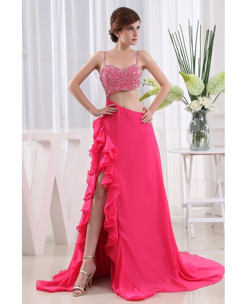 A-line Sweetheart Court Train Chiffon Prom Dress With Beading