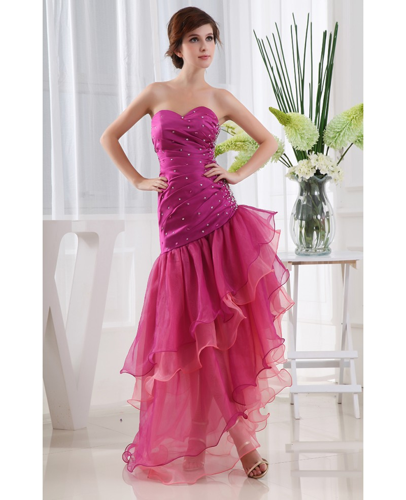 Mermaid Sweetheart Floor-length Tulle Prom Dress With Beading