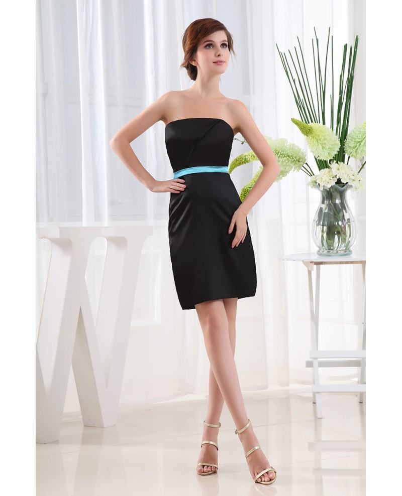 Sheath Strapless Short Satin Cocktail Dress