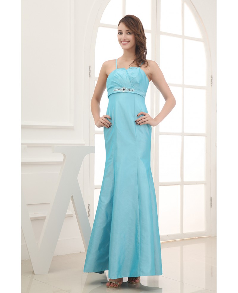 Mermaid Strapless Ankle-length Satin Evening Dress With Beading