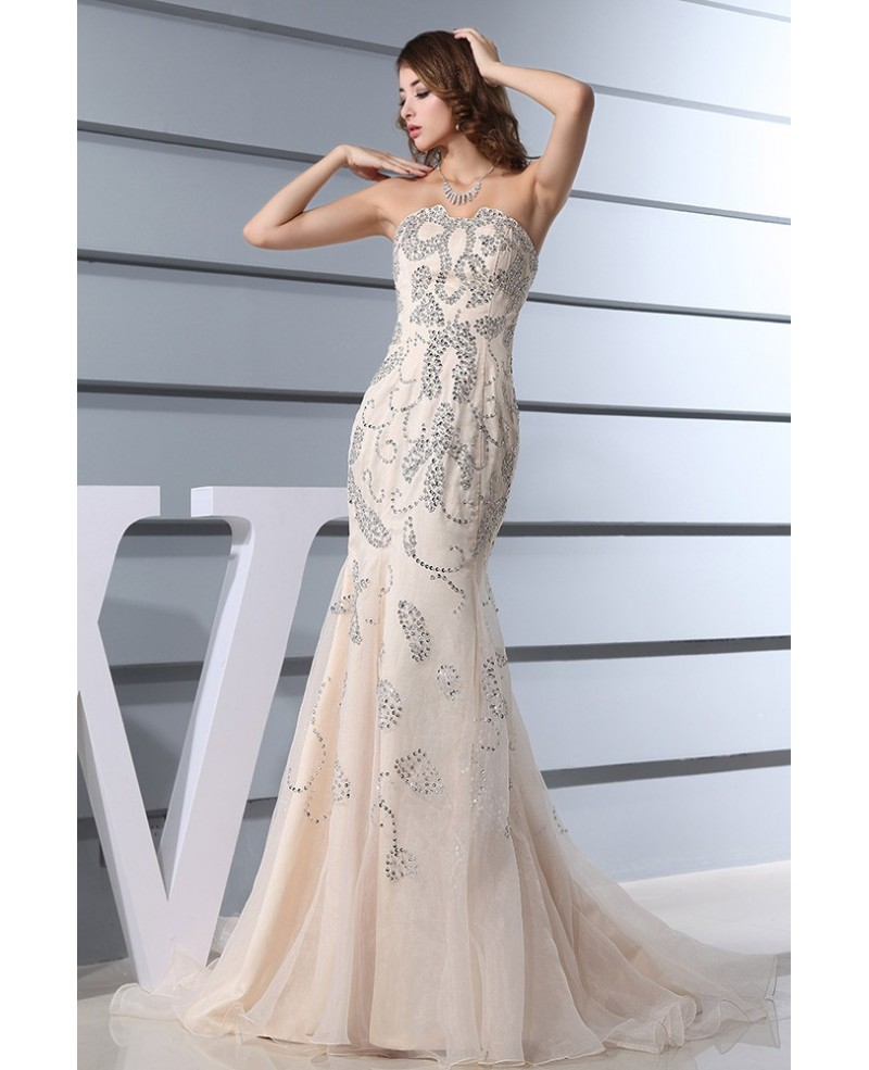 Mermaid Sweetheart Sweep Train Organza Prom Dress With Beading