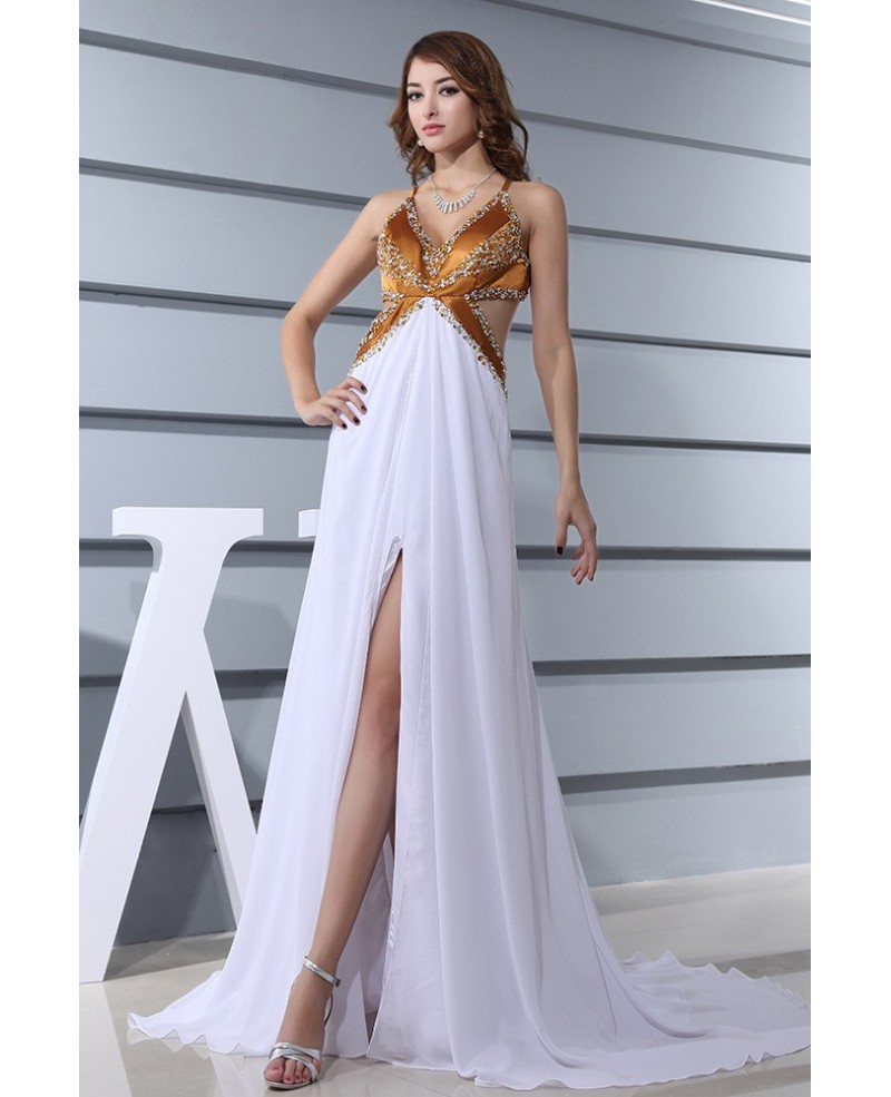 A-line V-neck Sweep Train Chiffon Prom Dress With Beading