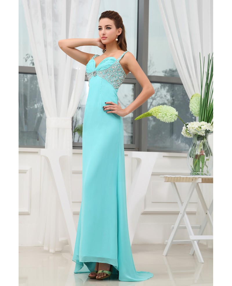 A-line Sweetheart Sweep Train Chiffon Prom Dress With Beading