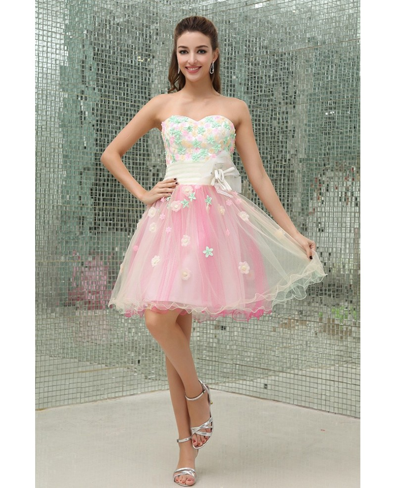 A-line Sweetheart Knee-length Tulle Homecoming Dress With Flowers