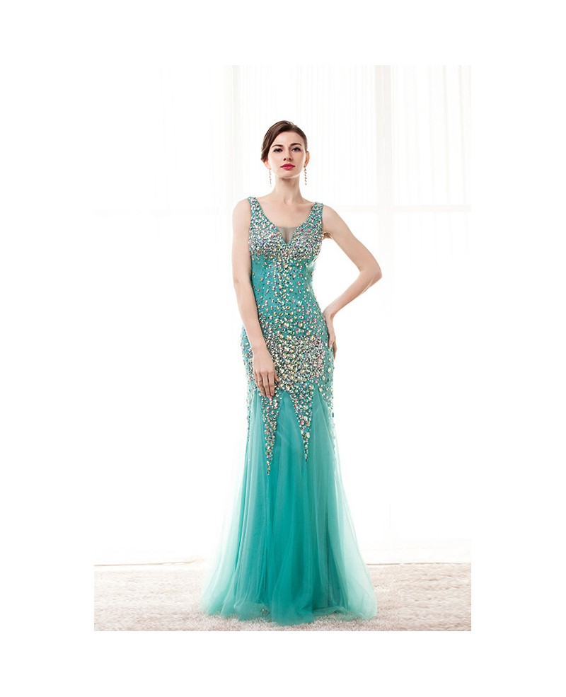 Sheath V Neck Floor-Length Tulle Prom Dress With Beading Sequins
