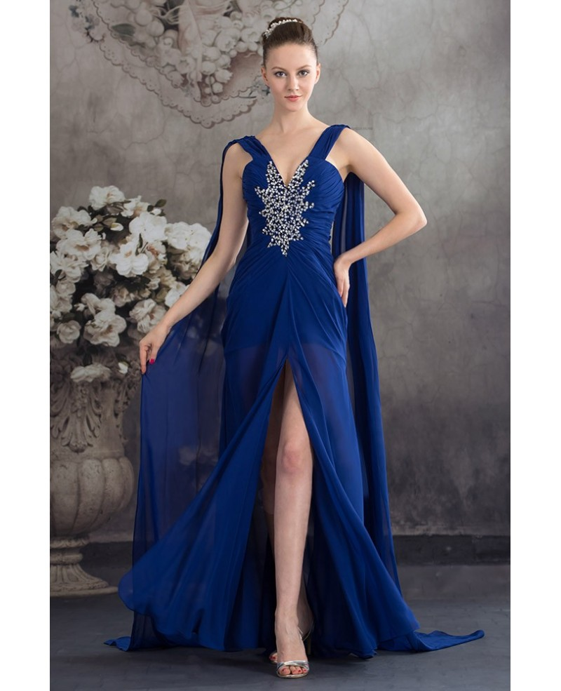 A-line V-neck Floor-length Chiffon Prom Dress With Beading