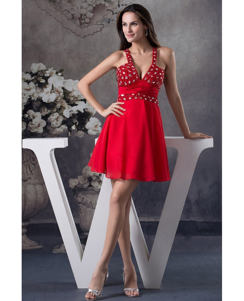 A-line V-neck Short Chiffon Prom Dress With Beading