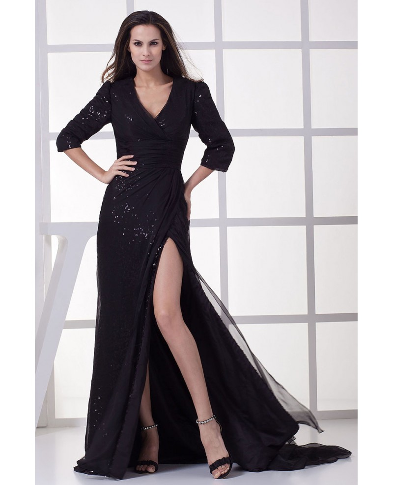 Sheath V-Neck Sweep Train Sequined Evening Dress