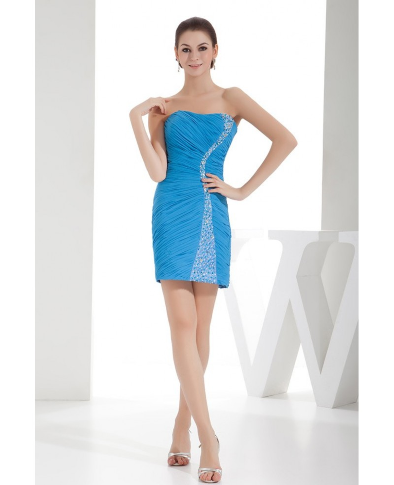 Sheath Strapless Short Chiffon Homecoming Dress