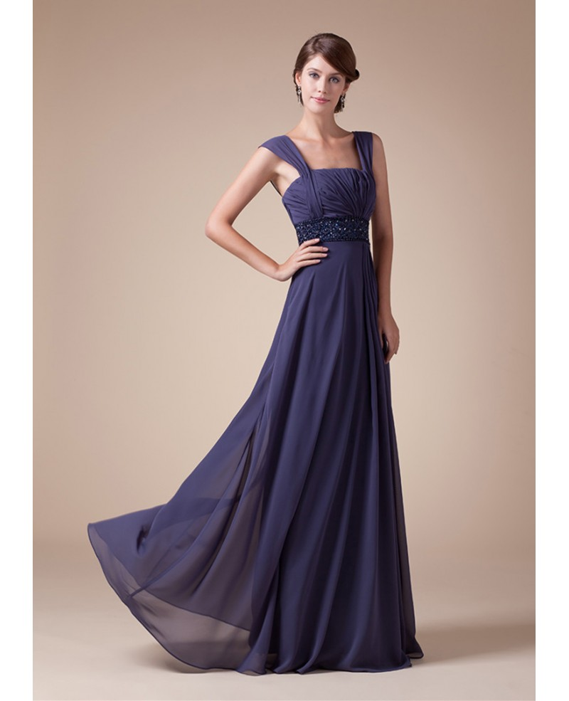 A-line Square Neckline Floor-length Chiffon Prom Dress With Beading