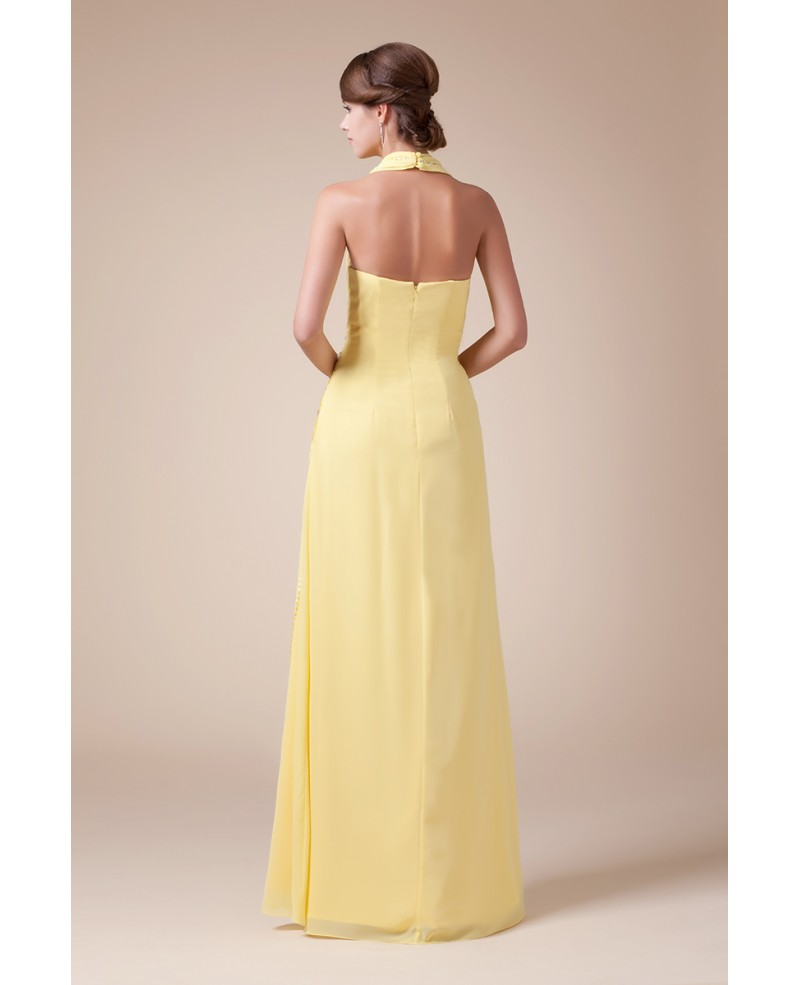 A-line Halter Floor-length Chiffon Prom Dress With Beading