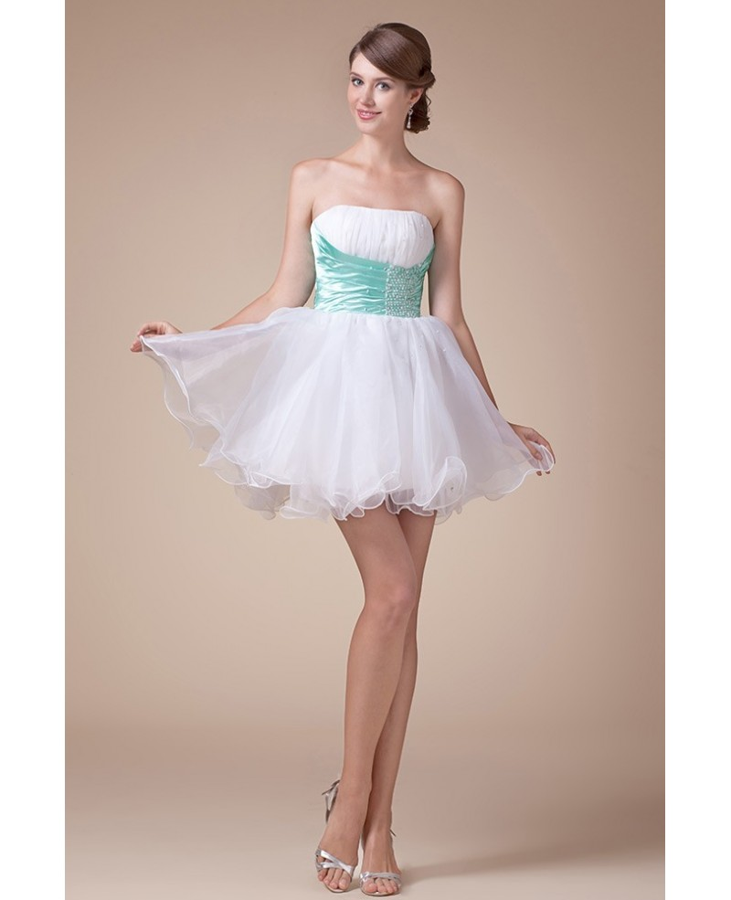 A-line Strapless Short Tulle Prom Dress With Beading
