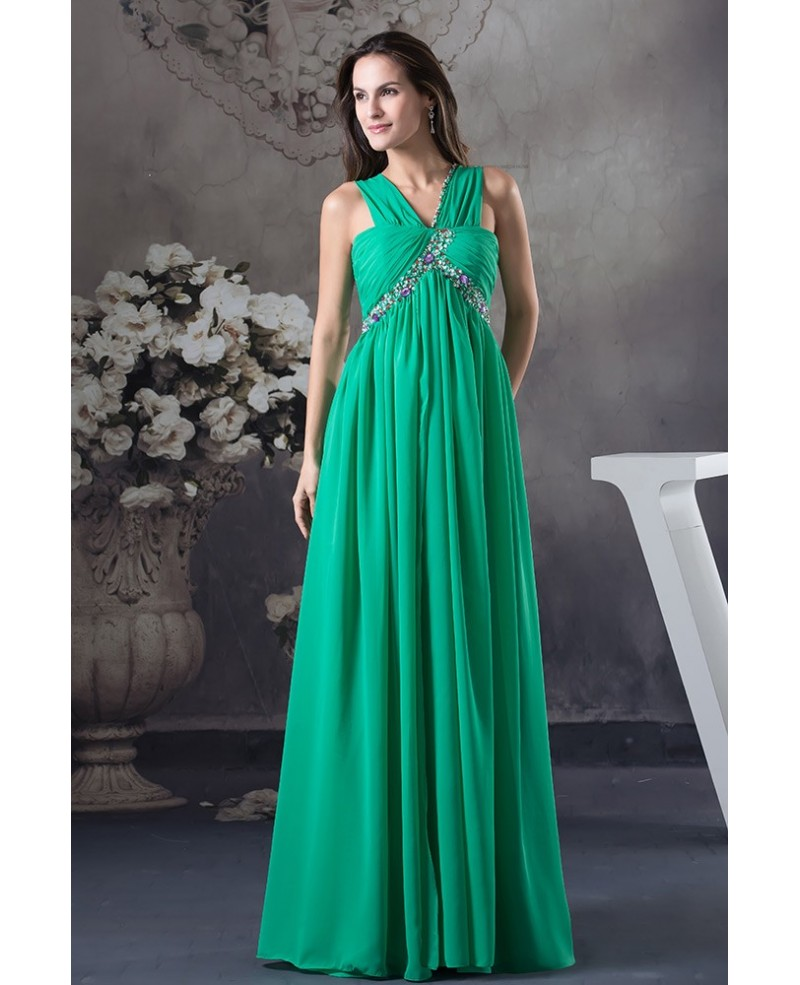Empire V-neck Floor-length Chiffon Prom Dress With Beading