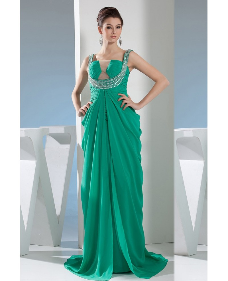 Ball-gown Square Neckline Floor-length Chiffon Prom Dress With Beading